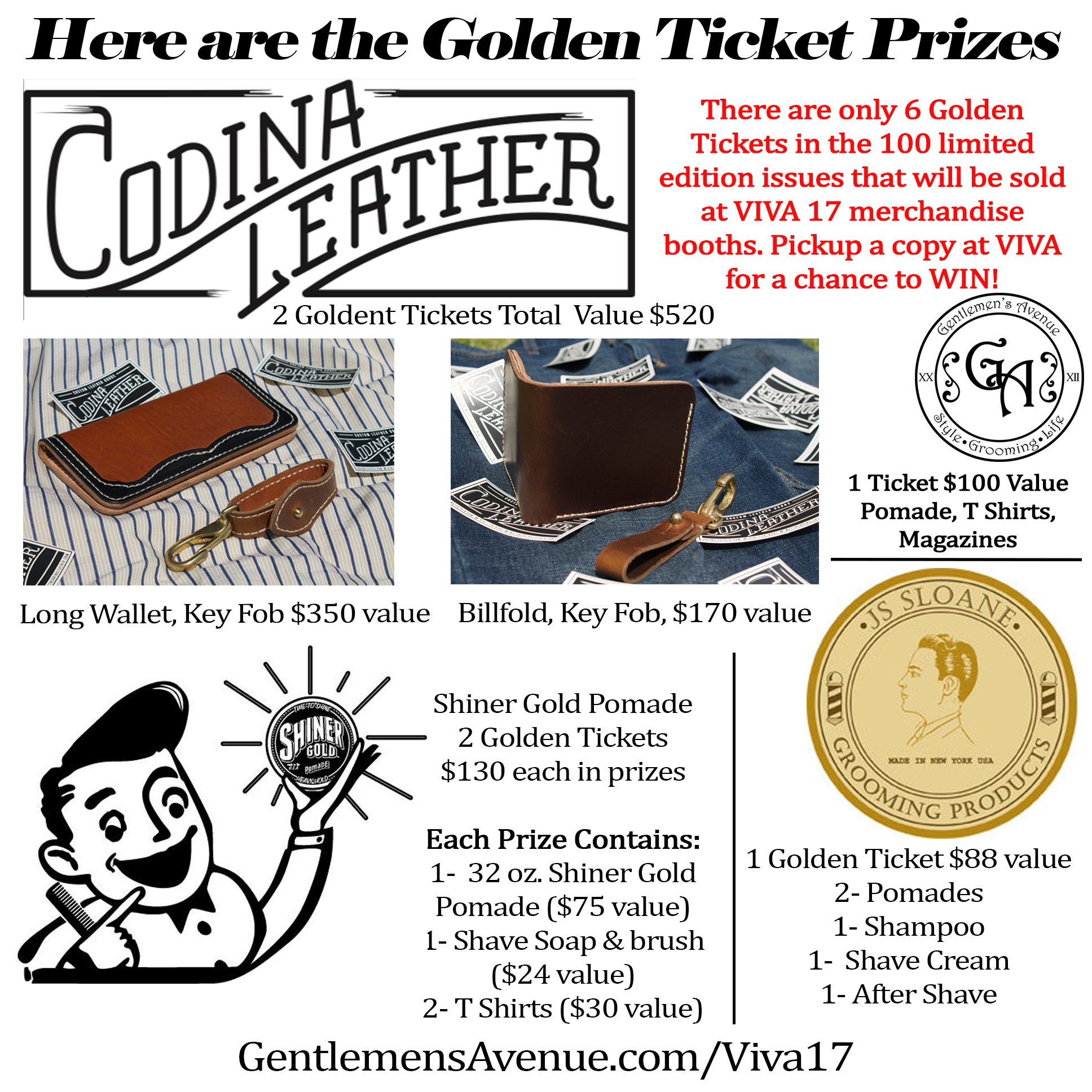Golden tickets prizes combos